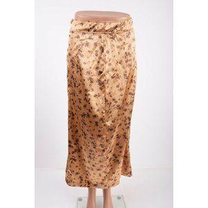 Zara Womens Midi Skirt S Floral Printed High Waist